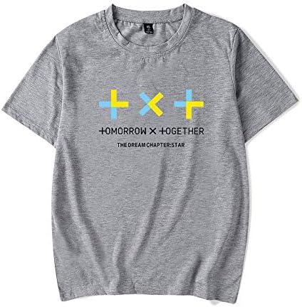 Dziewczęca koszulka z krÓtkim rękawem z okrągłym wycięciem pod szyją bardzo duży t-shirt dla kobiet rano X razem zadrukowana gÓrna część: Odzież