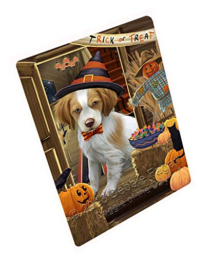 (Doggie of the Day Enter at Own Risk Trick or Treat Halloween Brittany Spaniel Dog Blanket BLNKT94773 (60x80 Fleece) )