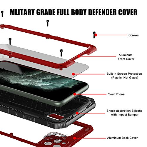 Mitywah Waterproof Case for iPhone 11 Pro Max, Heavy Duty Military Grade Armor Metal Case, Full Body Protective Rugged Shockproof Dustproof Strong Thick Case for iPhone 11 Pro Max, Red