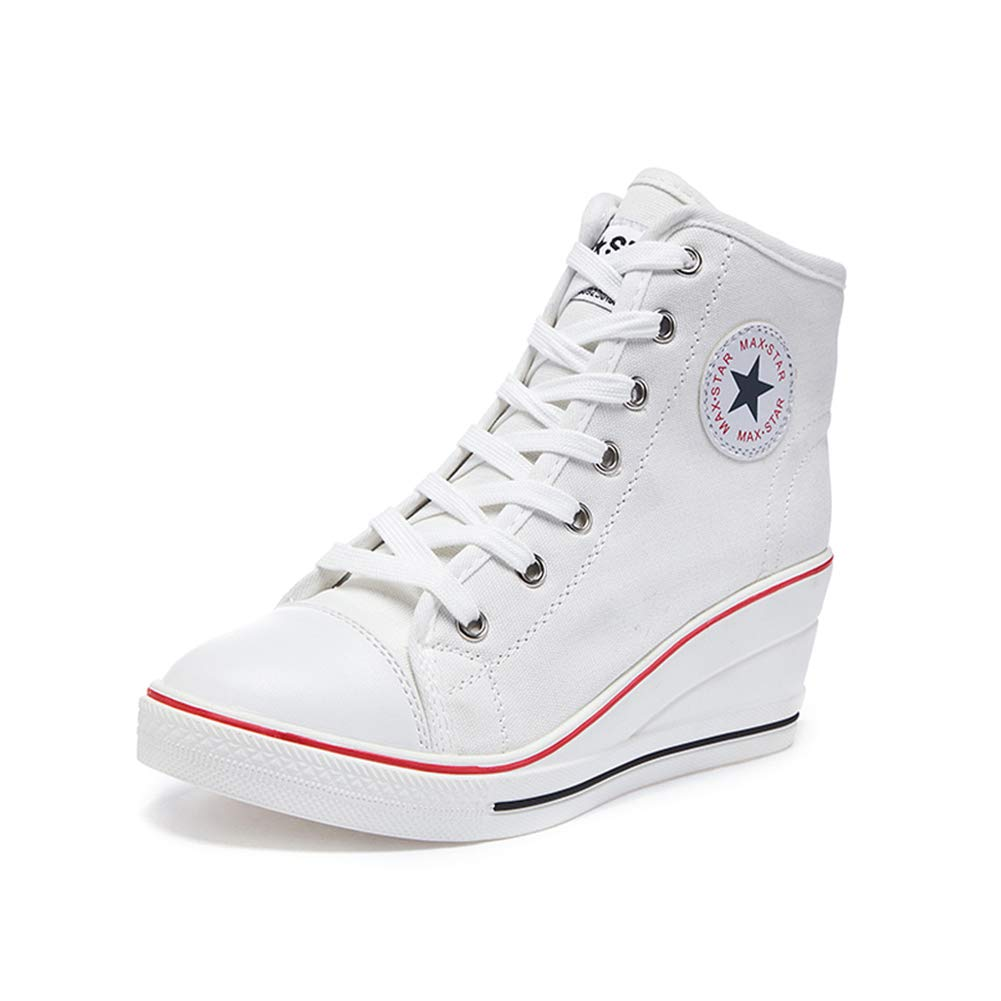 White Sokaly Women's Sneaker High-Heeled Canvas shoes High-Top Pump Lace UP Wedges Side Zipper shoes Fashion Sneakers