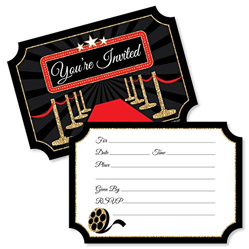 Red Carpet Hollywood - Shaped Fill-in Invitations - Movie Night Party Invitation Cards with Envelopes - Set of 12