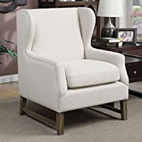 Coaster 902490-CO Accent Seating 32.75 Accent Chair with Wing Back Design Hand Placed Silver Nail Heads Mid-Century Design and Fabric Upholstery, In Beige