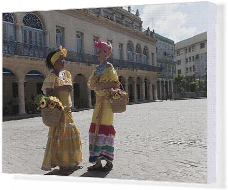 Impresión de Lienzo old disfraz cubano mujer en blanco y negro de ...