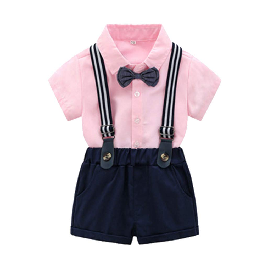 Flexman Baby Boy TuxedoToddler Short Sleeve Rompers Infant Outfit with Bow TieJumpsuit Overall Romper