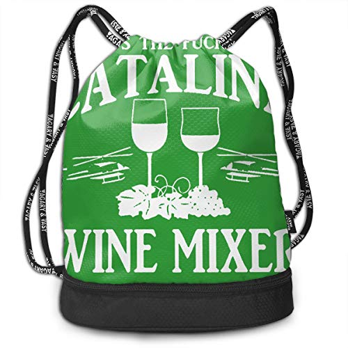 VRLGWDHD Fuckin' Catalina Wine Mixer Unisex Full All Over Print Sport Gym Drawstring Bags Storage Bag with Straps for Campus