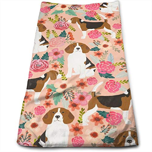 Beagle Flowers Florals Beagles Pets Pet Dog Dogs Cute Hand Towels Dishcloth Floral Linen Hand Towels Super Soft Extra Absorbent for Bath,Spa and Gym 11.8