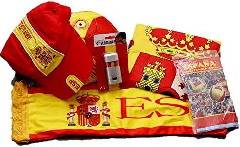 EUROXANTY Lote de la Selección Española | Bandera de España 90x150cm / Pintura de Cara/Gorra/Pelota/Bufanda para Coche + Regalo Sorpresa de España: Amazon.es: Jardín