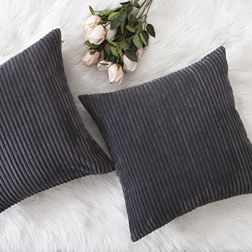 Home Brilliant Fall Decor Pillow Covers Soft Decorative Striped Corduroy Velvet Square Throw Pillow Sofa Cushion Covers Set for Couch, 2 Pack, 18x18 inch (45cm), Dark Grey