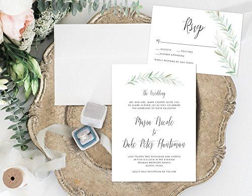 Organic Wedding Invitation, Simple Earthy Wedding Invitation, Rustic Wedding Invitation by Alexa Nelson Prints