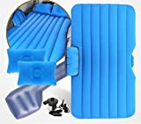 STAZSX Car shock bed car mattress universal car inflatable bed, blue flocking thickening-135x78CM