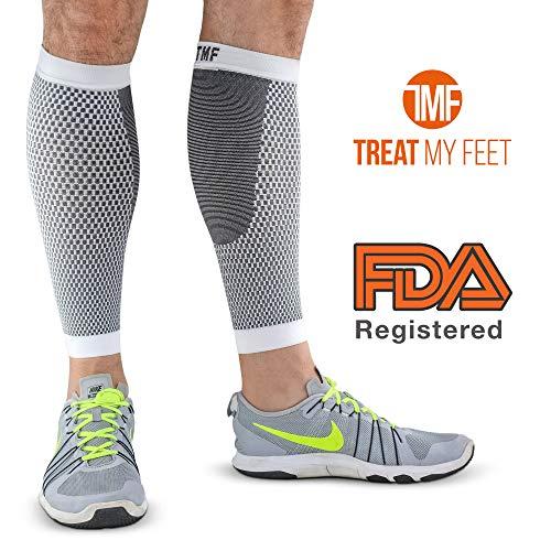 Leg & Calf Compression Sleeve (1 Pair) Shin Splint & Calf Pain Relief, Comfortable Calf Sleeves Helps Improve Circulation for Runners, Nurses & Travelers. Leg Support Footless Socks