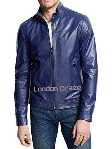 Blue Leather Motorcycle Jacket - 4