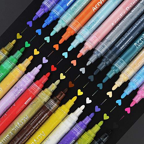 LBZE Acrylic Paint Marker Pens - Medium Point Tip Markers for Rock Painting, Mug Design, Ceramic, Glass, Metal, Wood, Fabric, Canvas, DIY Craft Kids, Set of 24 Colors