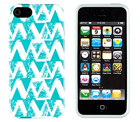 iPhone 4S Case, DandyCase PERFECT PATTERN *No Chip/No Peel* Flexible Slim Case Cover for Apple iPhone 4S / 4 - LIFETIME WARRANTY [Turquoise Geometric (Iphone 4 Case Preppy)