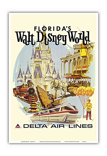 (Florida's Walt Disney World - First Year of Operation - Delta Air Lines - Vintage Airline Travel Poster by Daniel C. Sweeney c.1971 - Master Art Print - 13in x 19in)