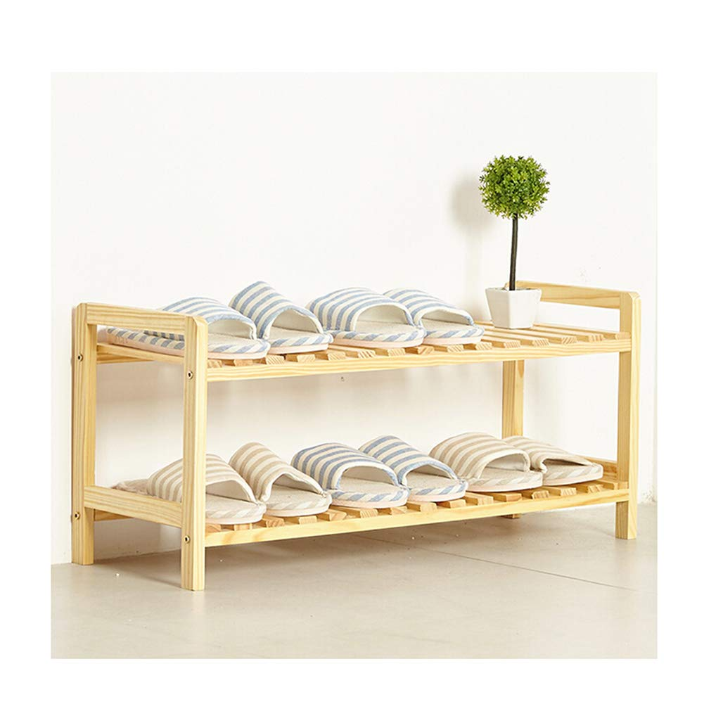 JIANFEI Shoe Shelf Rack Shelf Multi-Layer Solid Wood Multifunction Household Waterproof Moisture Proof (Color : Wood Color, Size : 70x25x30cm)