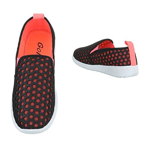 Ital design corallo Nero Donna Pantofole RwaBqRArx