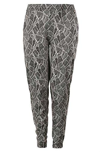 Machine Black Catalog - Bargain Catalog Outlet Ellos Plus Size Soft Knit Elastic Waist Pants (Black White Leaf,1X)
