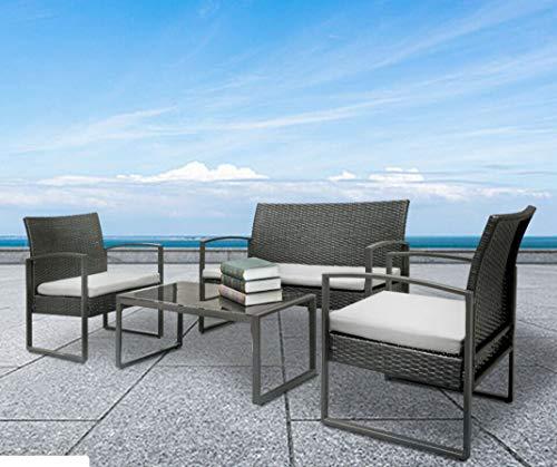 AK Energy Black Patio Wicker Furniture Outdoor 4pc Rattan Sofa Set Garden Conversation Set Lawn Glass Top Table