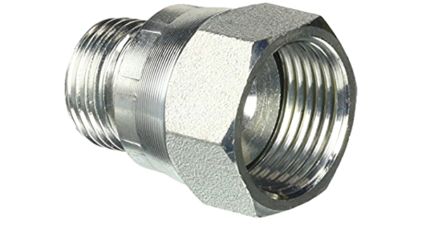Brennan Industries 2406-16-04 Steel Non-Swivel Straight Reducer 1-5//16-12 SAE x 7//16-20 SAE Thread 1.840 Length 1.500 Hex 1 Female JIC x 1//4 Male JIC