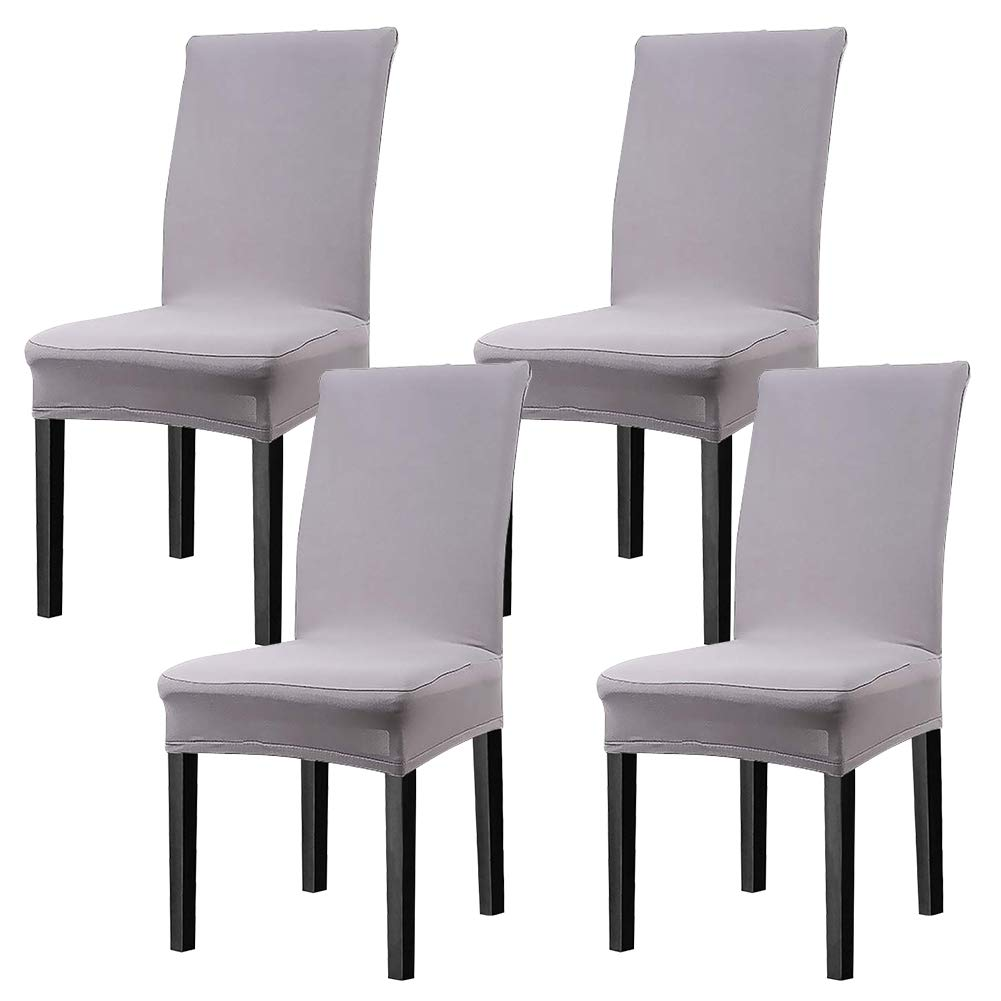 CosyVie Super Fit Universal Stretch Dining Chair Covers, Removable Washable Slipcovers for Dining Room Chairs 4 Pcs/Pack(Gray)