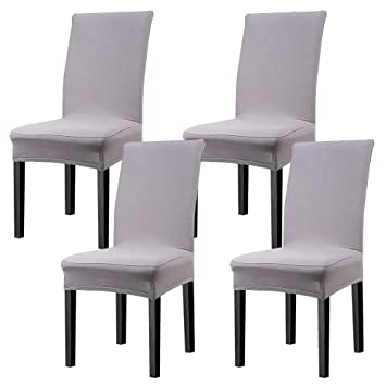 Incredible Cosyvie Super Fit Universal Stretch Dining Chair Covers Removable Washable Slipcovers For Dining Room Chairs 4 Pcs Pack Gray Home Interior And Landscaping Pimpapssignezvosmurscom