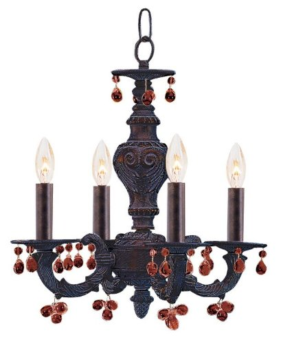 Crystorama 5224-VB-AMBER, Sutton Mini Murano Crystal Chandelier Lighting, 4 Light, 240 Watts, Bronze