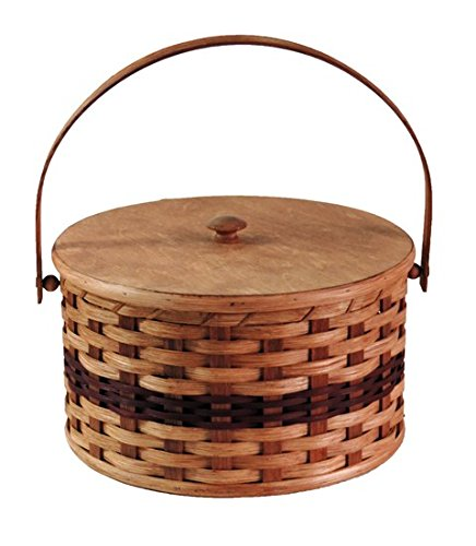 Amish Handmade Round Double Pie Basket w/Inside Tray, Lid, and Swinging Carrier Handle IN WINE (Swinging Lid)