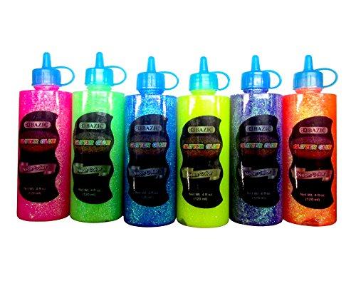 6 Color Glitter Glue Set (4oz - 120 ml Bottles) NEON Colors - Pink, Green, Blue, Yellow, Purple, and Orange (Basic Glitter)
