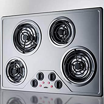 30 Inch Electric Coil Style Cooktop with 4 Elements, ADA Compliant, in Stainless Steel