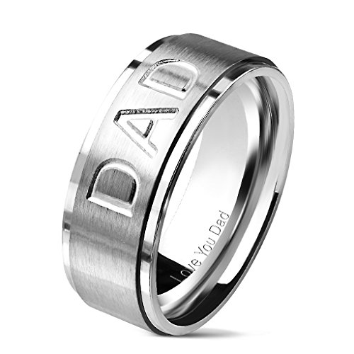 """Dad"" Deep Etched Stainless Steel Stepped Ring with for sale  Delivered anywhere in USA"