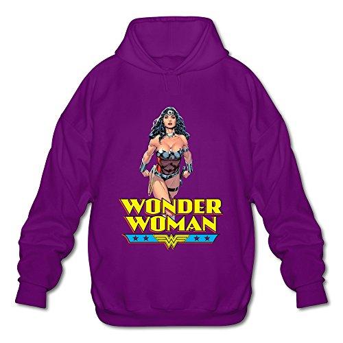 AOPO Wonder Woman Diana Prince Men's Long Sleeve Hooded Sweatshirt / Hoodie Small Purple