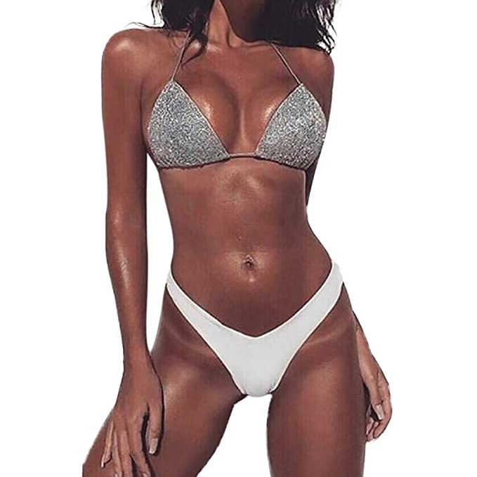 SamMoSon 2019 Traje De Baño Tanga Mujer Transparencia Talla Grande Alto Terciopelo,Traje De Baño Sexy para Mujer Traje De Baño De Color Sólido Bikinis ...