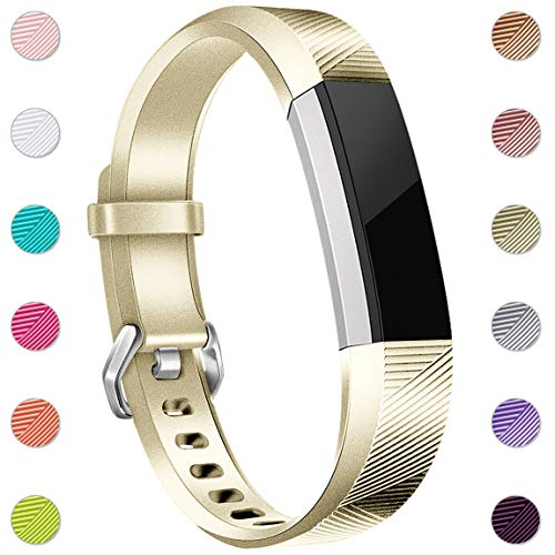 Maledan Replacement Bands Compatible for Fitbit Alta, Alta HR and Fitbit Ace, Newest Accessories Wristbands Sport Strap with Secure Metal Buckle for Fitbit Alta HR/Alta/Ace, Small, Champagne