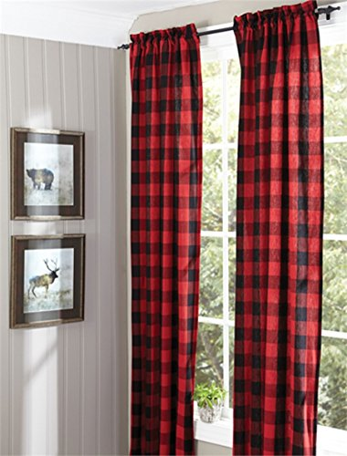 Buffalo Check Lined Panel Pair, 72X84 Window Curtain (Check Drapery)