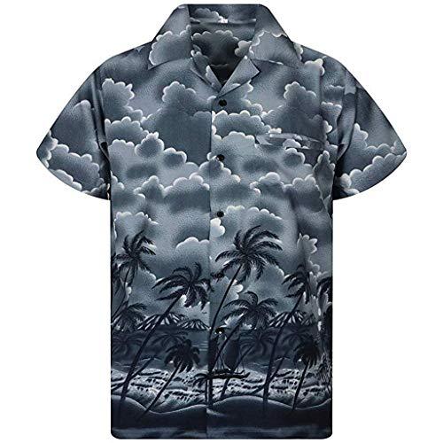 Yucode Men Summer Casual Button Hawaii Print Beach Short Sleeve Lapel Top Blouse Tee Gray