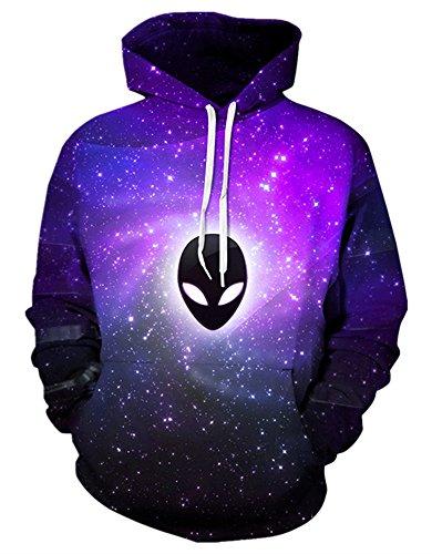 Gludear Unisex Realistic 3d Digital Print Pullover Hoodie Hooded Sweatshirt,Alien,L