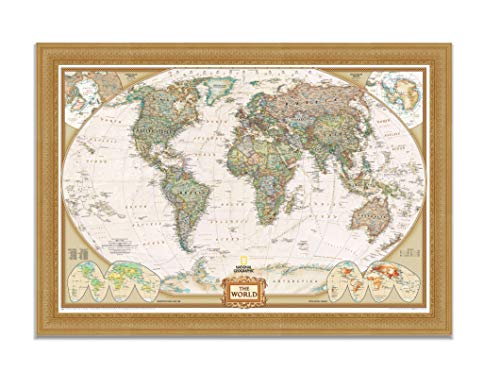 Renditions Gallery NATGEO3-7070-2842 Executive National Geographic Travel Map with Push Pins, Wall Art for Living Room, Bedroom, Office, Vintage Gold, - Gold Vintage Pins Yellow