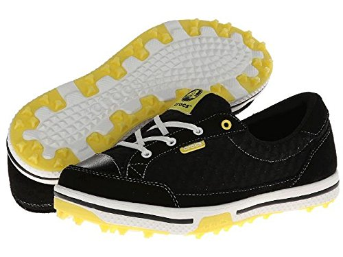 (Crocs Womens Women's 15372 Drayden Golf Shoe,Black/Burst,4 M)