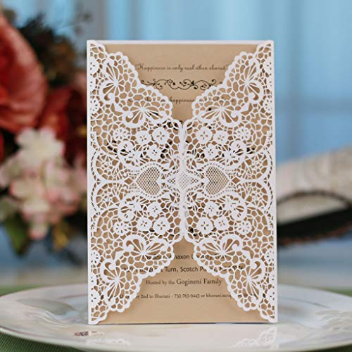 Laser Cut Invitations Kit 40 Packs FOMTOR Laser Cut Wedding Invitations with Envelopes and Inside Cards for Wedding,Birthday Parties,Baby Shower,Graduation (White)