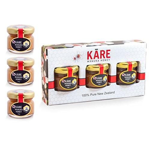 KARE Manuka Honey, Certified UMF 10+, 15+, 20+ (1 oz, 3 Pack in glass jars) 100% Pure, Raw & Unpasteurized Premium Grade New Zealand Manuka Honey Taster Bundle