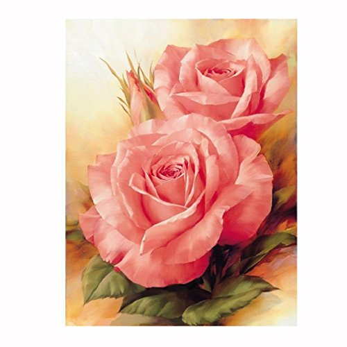 Wall Decor,RNTOP_Home Decor Rose 5D DIY Diamond Painting Pink Rose Flower Embroidery Cross Craft Stitch Animal Decor Floral Art Wall Sticker For Wall (Pink)