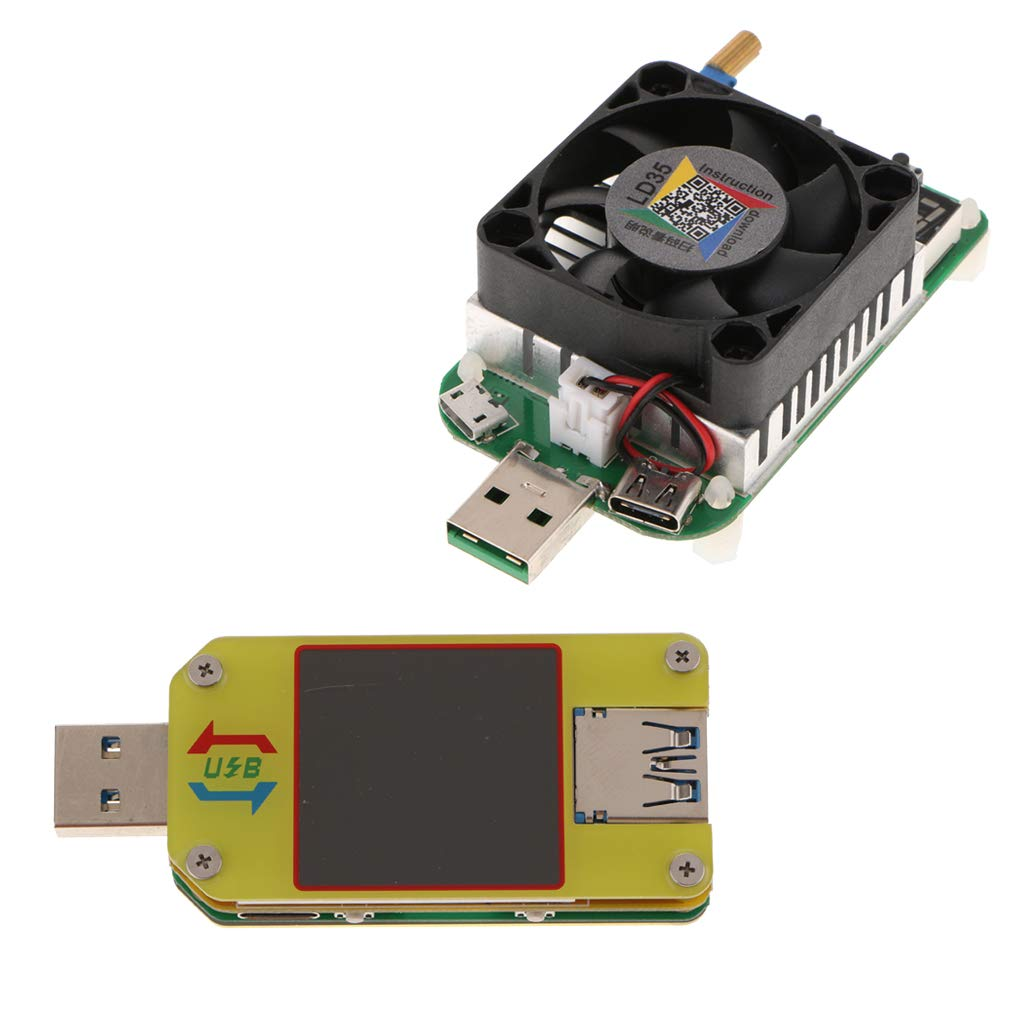 SM SunniMix UM34C USB 3.0 Tester Type-C LCD Voltmeter Ammeter Battery Charge + USB Load Tester 0.25-5A 35W with Fan