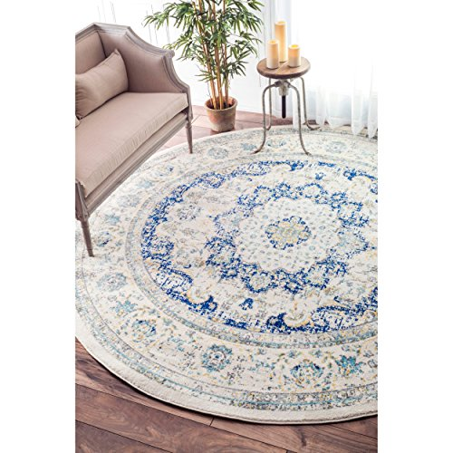 Captivating Traditional Persian Vintage Fancy Blue Area Rugs, 5 Feet Diameter (5u0027 Round)