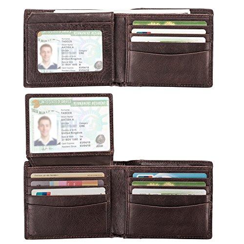 Genuine Leather Wallet for Men, RFID Blocking Bifold Men Wallet, Super Slim Design Stylish Gift for Men, Multi Card Extra Capacity Travel Wallet with 2 ID (Dark Brown Mens Wallets)