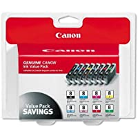 Canon CLI-8, 0620B015 (CLI8) Multipack OEM Genuine Inkjet/Ink Cartridge (One each: CLI-8BK,CLI-8C, CLI-8M, CLI-8Y, CLI-8R, CLI-8G, CLI-8PC, CLI-8PM) - Retail