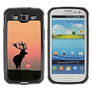 BullDog Case@ Moon Sunset Summer Antlers Hunting Deer Rugged Hybrid Armor Slim Protection Case Cover Shell For S3 Case ,I9300 Case Cover ,I9308 case ,Leather for S3 ,S3 Leather Cover Case