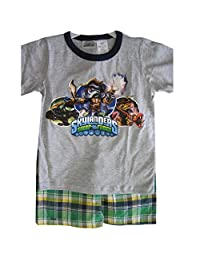 Skylanders Swap Force Little Boys Gray Cartoon Print Plaid 2 Pc Shorts Set 4-7