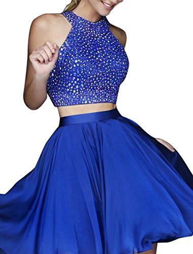 51JfS0MMeeL - Hatail Short 2 Piece Beaded Prom Dress High Neck Chiffon Evening Gown For Women