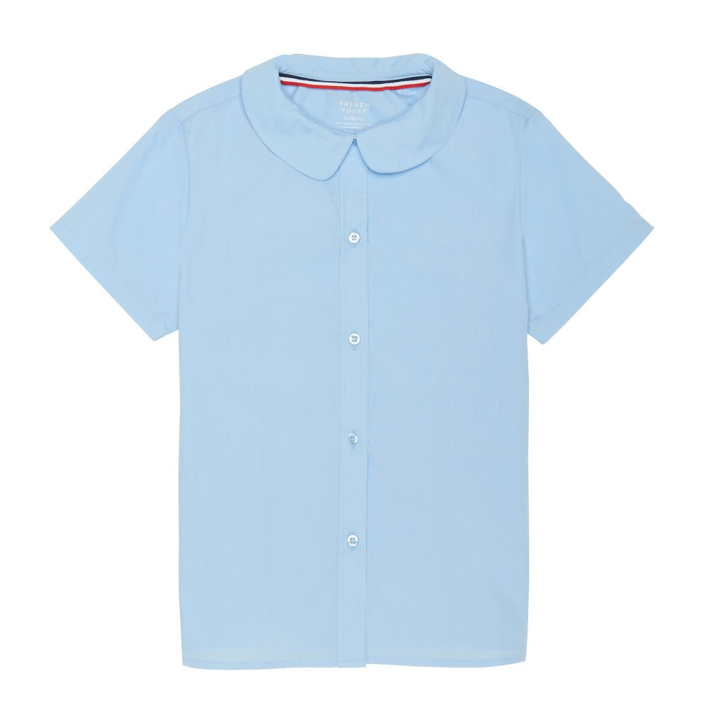 French Toast Girls Size' Short Sleeve Peter Pan Collar Blouse, Light Blue, 16.5 Plus